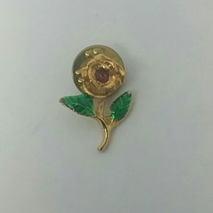 24k Gold Electroplated Genuine Ruby Pin